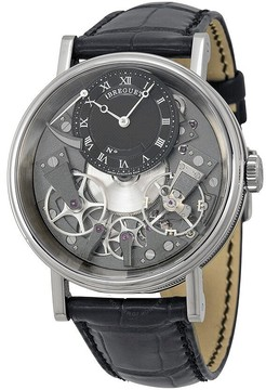 Breguet Tradition Black and Grey Skeleton Dial 18kt White Gold Black Leather Men's Watch 7057BBG99W6