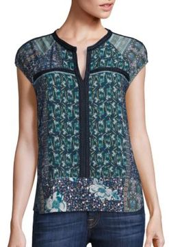 Collective Concepts Printed Cap Sleeve Top