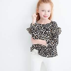 J.Crew Girls' leopard-printed long-sleeve T-shirt with ruffles
