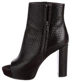 Brunello Cucinelli Leather Peep-Toe Ankle Boots