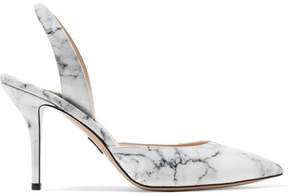 Paul Andrew Passion Marble-effect Patent-leather Pumps - Off-white