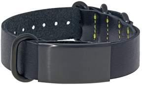 Lynx Leather & Black Ion-Plated Stainless Steel ID Bracelet - Men