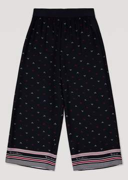 Armani Junior Canvas Trousers With Micro Logo Motif