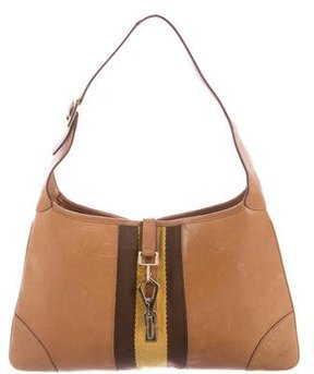 Gucci Leather Web Jackie Bag - BROWN - STYLE