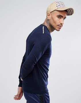 Aquascutum London Carston Merino Crew Neck Club Check Shoulder Sweater in Navy