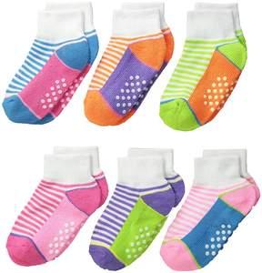 Jefferies Socks Sporty Half Cushion Quarter Socks 6-Pair Pack Girls Shoes