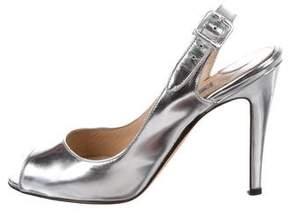 Manolo Blahnik Metallic Peep-Toe Pumps