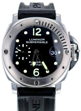 Panerai Luminor PAM025 Stainless Steel & Rubber Black Dial Automatic 44mm Men