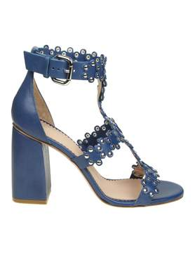 RED Valentino flowers Puzzle Sandal In Blue Skin Leather