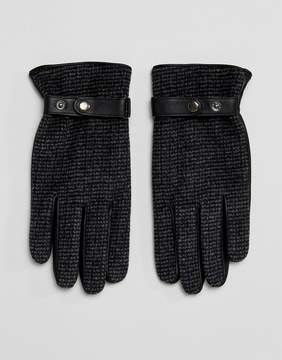 Asos Leather Gloves In Gray Tweed