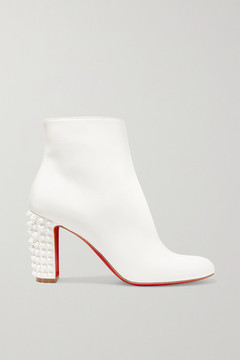 Christian Louboutin – Suzi Folk 85 Spiked Leather Ankle Boots – White