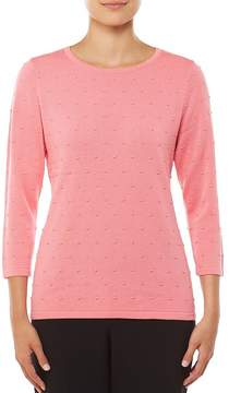 Allison Daley 3/4 Sleeve Solid Raised Polka Dot Pullover Sweater