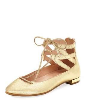 Aquazzura Belgravia Mini Leather Ballerina Flat, Toddler/Youth Sizes 11T-2Y