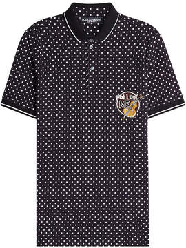Dolce & Gabbana Printed Cotton Polo Shirt with Embellished Patch