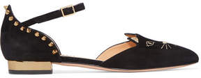 Charlotte Olympia Mid-century Kitty Studded Embroidered Suede Point-toe Flats - Black