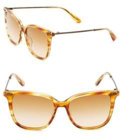 Bottega Veneta Textured Temple 53mm Wayfarer Sunglasses