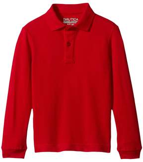 Nautica Long Sleeve Pique Polo Boy's Long Sleeve Pullover