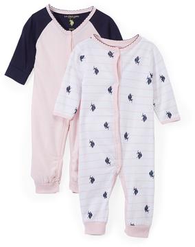 U.S. Polo Assn. Baby Pink Romper Set - Infant