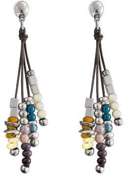 Uno de 50 Play Ball Multi-Stranded Bead Stacked Dangling Stud Earrings