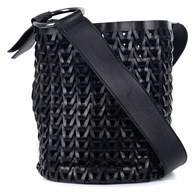 Roberto Cavalli Solid Black Leather Braided Woven Shoulder Bucket Bag