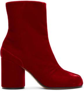 Maison Margiela Red Velvet Tabi Boots