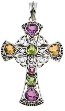 Celtic Nicky Butler Collection Pink Topaz and Multigem Cross Pendant