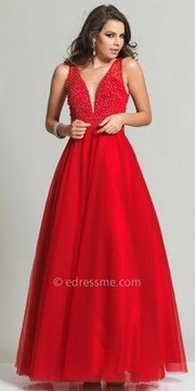 Dave and Johnny Deep V Pearl Bodice Ball Gown