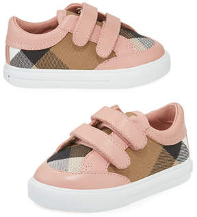 Burberry Heacham Check Canvas Sneaker, Peony Rose/Tan, Newborn