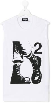 DSQUARED2 military boots print tank