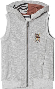 Ikks Grey Tiger Print Sleeveless Hoodie