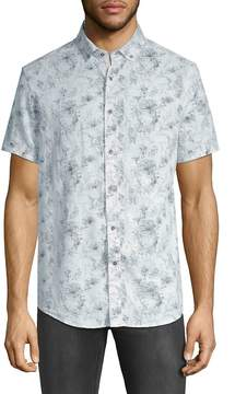 Report Collection Men's Printed Short-Sleeve Button-Down Shirt