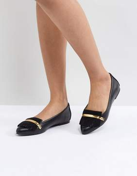 London Rebel Metal Bar Flat Shoe