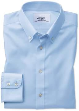 Charles Tyrwhitt Extra Slim Fit Button-Down Non-Iron Twill Sky Blue Cotton Dress Shirt Single Cuff Size 15.5/32