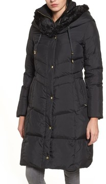 Cole Haan Women's 3/4 Down Coat With Faux Fur Hood