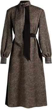 Fendi Pop high-neck chevron midi dress