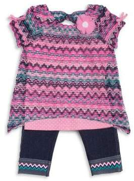 Little Lass Little Girl's Three-Piece Chevron Top, Tank Top and Stretch Pants Set
