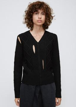 Aalto Black Slit Cable Knit