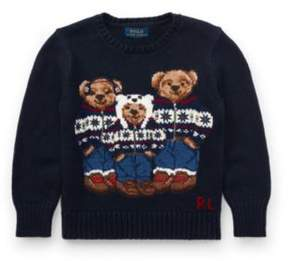 Polo Ralph Lauren Bear Cotton Sweater Hunter Navy Multi 2T