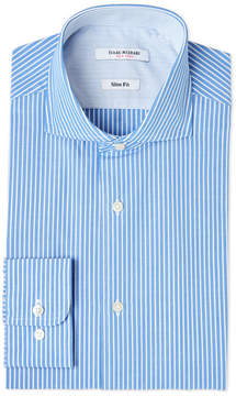 Isaac Mizrahi Blue & White Stripe Slim Fit Dress Shirt