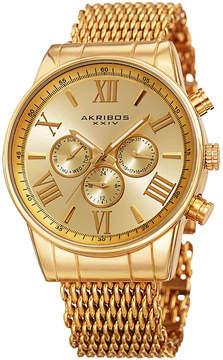 Akribos XXIV Mens Gold Tone Strap Watch-A-919yg