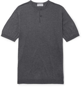 John Smedley Slim-Fit Knitted Mélange Sea Island Cotton Henley T-Shirt