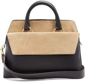 Diane von Furstenberg Front Flap Satchel large leather and suede bag