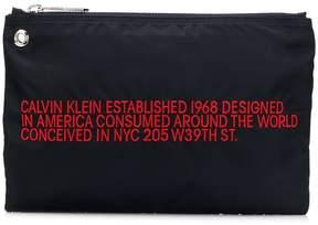 Calvin Klein slogan embroidered clutch bag