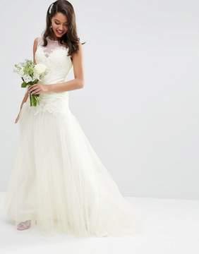 Asos Edition BRIDAL Premium Lace Bodice Mesh Skirt Maxi Dress