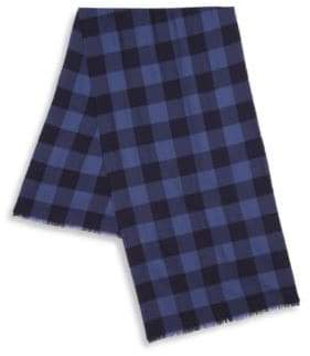 Saks Fifth Avenue COLLECTION Check Print Merino Wool Scarf