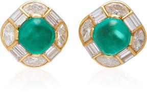 Gioia Bulgari Gold Cabochon Emerald and Diamond Earrings