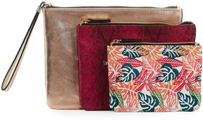 Neiman Marcus Triple Travel Pouch Set, Fuchsia