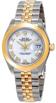 Rolex Lady-Datejust White Dial Automatic Ladies 18kt Yellow Gold and Steel Jubilee Watch