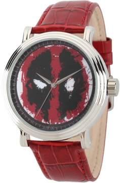 Marvel Marvel's Deadpool Men's Silver Alloy Vintage Watch, Red Leather Strap