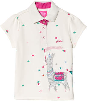 Joules Cream Llama Applique Polo Top